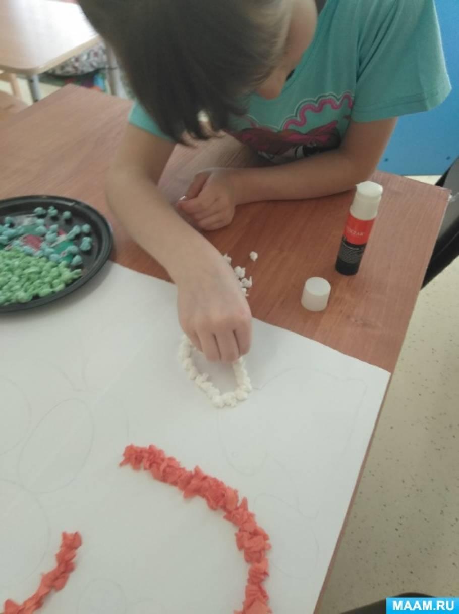 Аппликация из салфеток с детьми подготовительной группы «Пасха»
