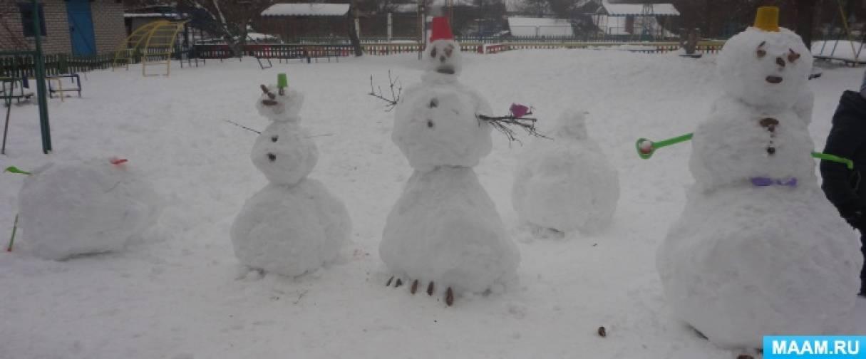 Фотоотчёт о НОД на прогулке «Выставка снеговиков «Весна-2018»