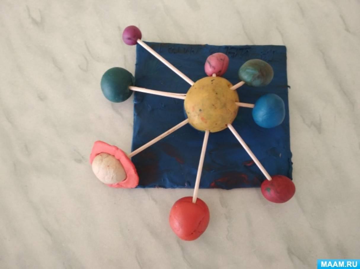 Коллективная работа детей 3 лет из пластилина с использованием бросового материала «Удивительный космос»
