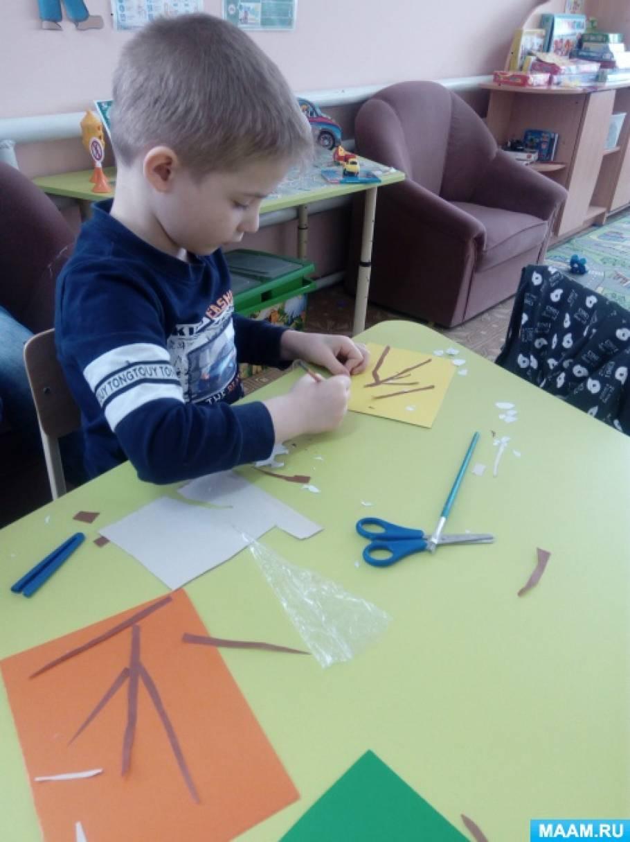 Фотоотчет о занятии в подготовительной к школе группе «Аппликация «Веточка вербы»