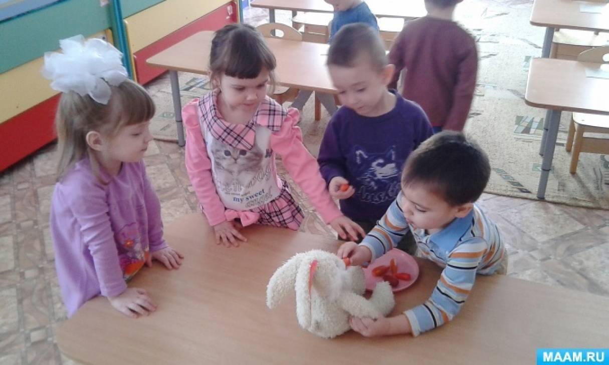 Фотоотчёт о лепке во второй младшей группе «Угостим зайку морковкой»