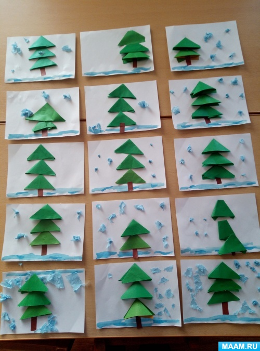 Фотоотчёт о НОД по конструированию из бумаги способом оригами «Ёлочка» в старшей группе