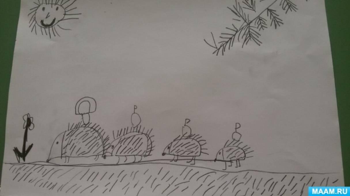 Конспект занятия по рисованию в нетрадиционной технике в подготовительной группе «Колючая сказка»