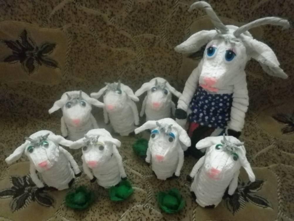 Поделки из гофротрубочек для русской народной сказки «Волк и семеро козлят»