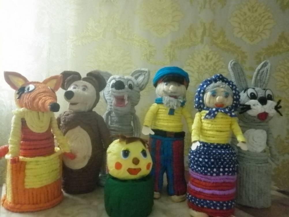 Сказочные персонажи из гофротрубочек к сказке «Колобок»