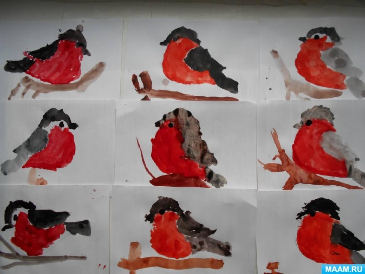 Фотоотчет о занятии по рисованию «Как розовые яблоки, на ветках снегири» в средней группе