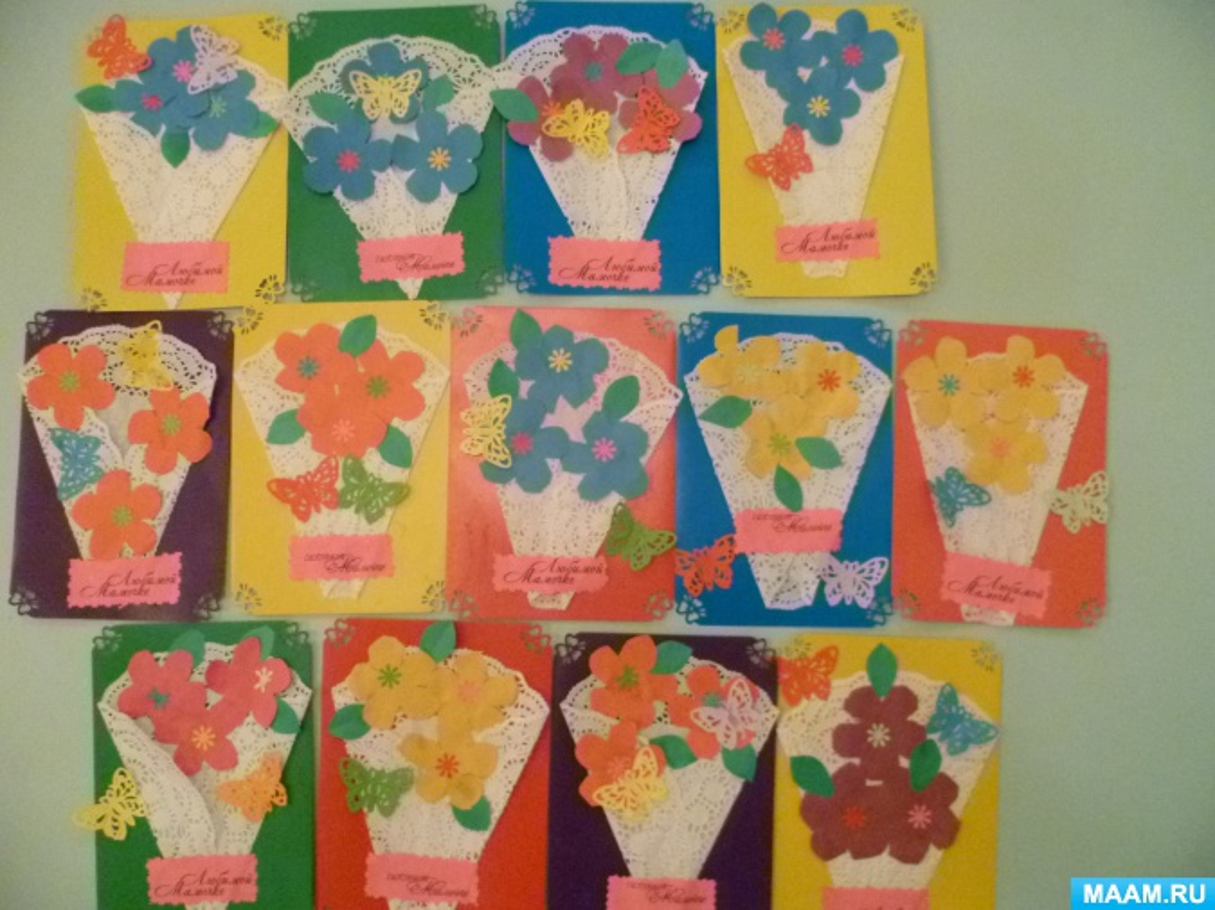 Аппликация открытка к дню матери средняя группа, картинки