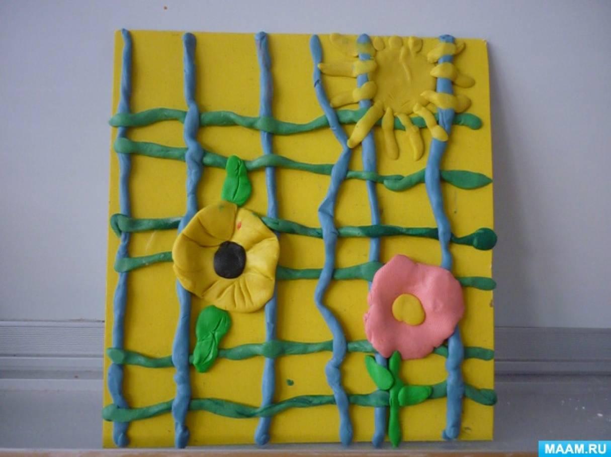 Конспект занятия в старшей группе. Лепка декоративная из пластилина «Весенний ковер. Плетение из жгутиков»