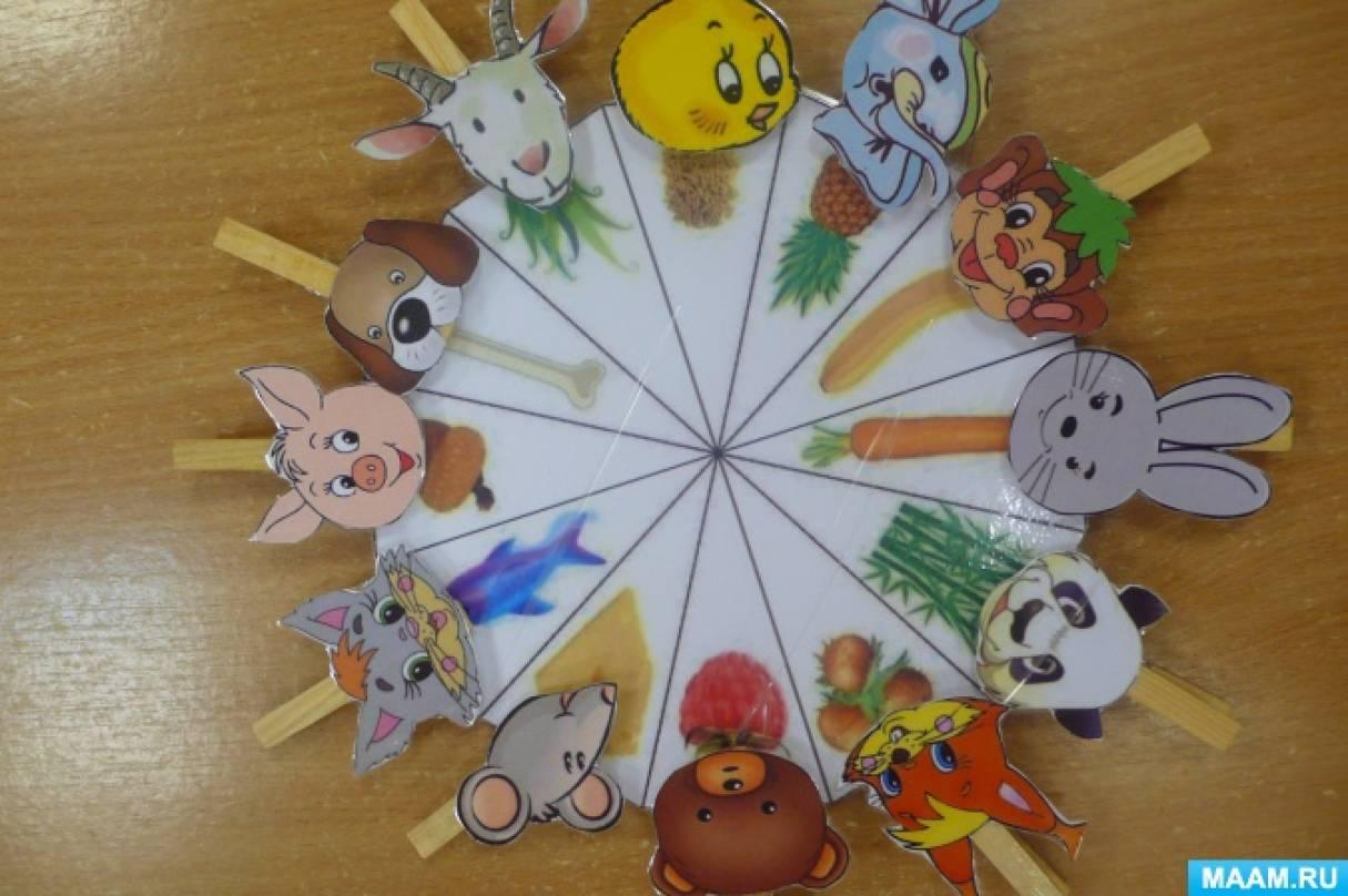 Дидактическая игра с прищепками «Кто что ест?»