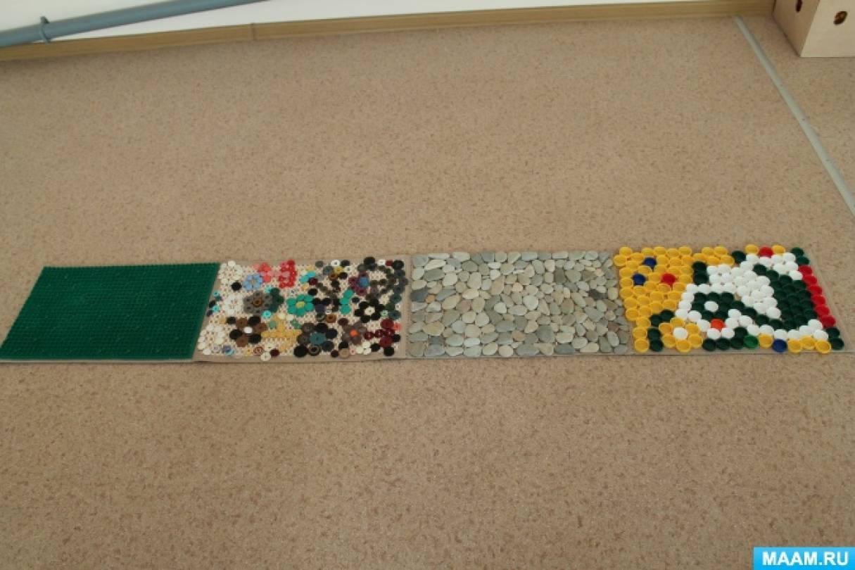Мастер-класс. Массажный коврик для ног для профилактики плоскостопия у детей.