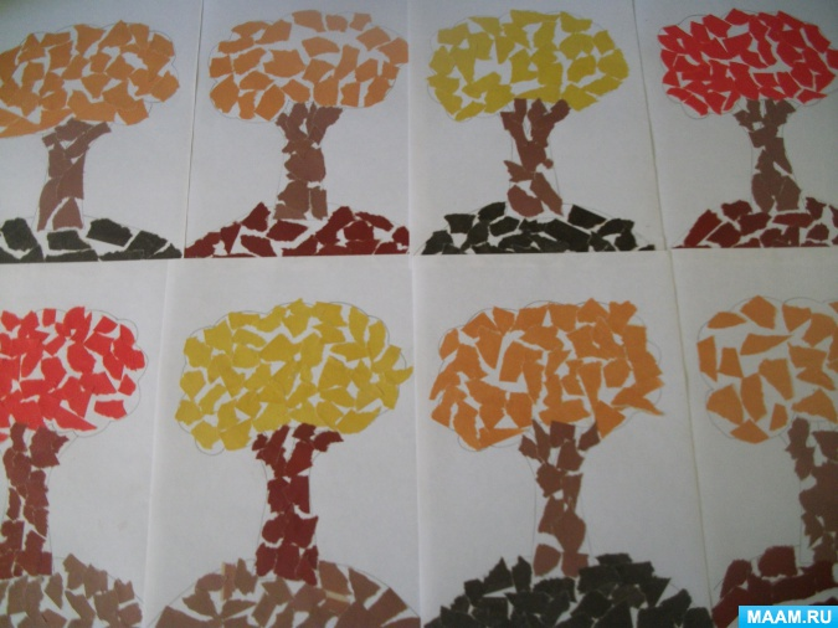Конспект занятия для детей старшего дошкольного возраста. Обрывная аппликация «Осеннее дерево»