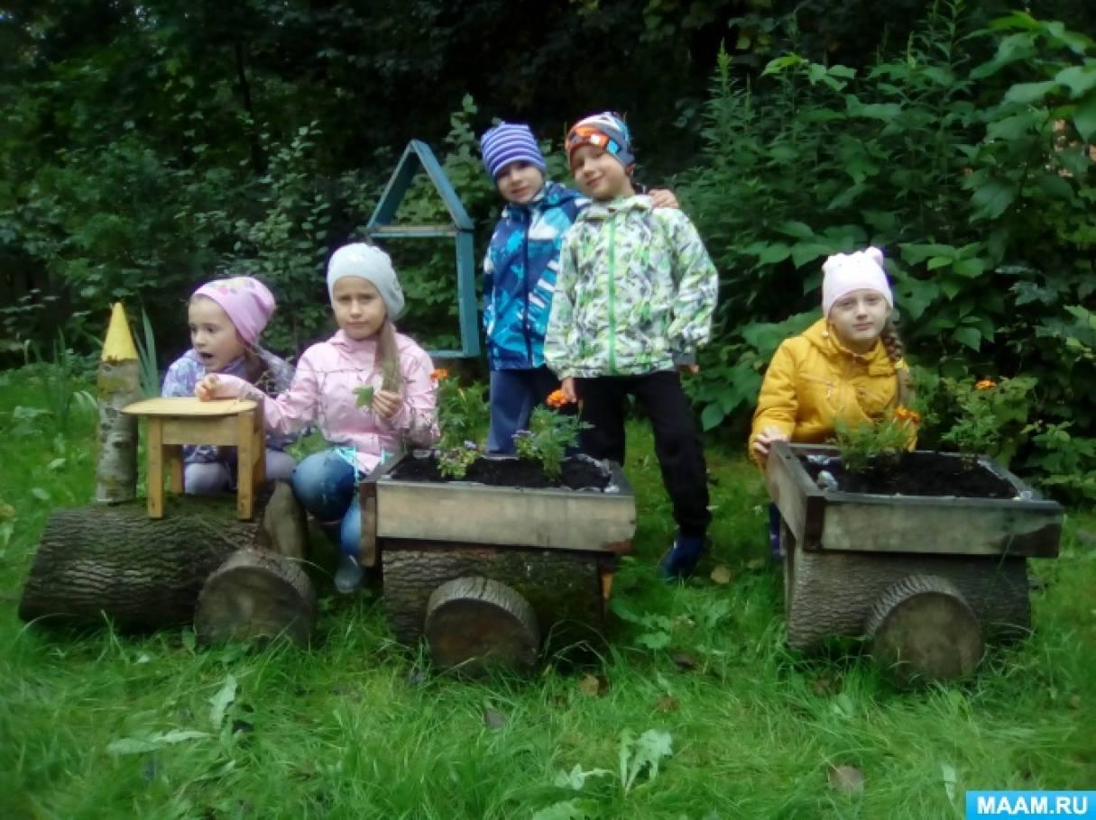 Оформление участка в детском саду.