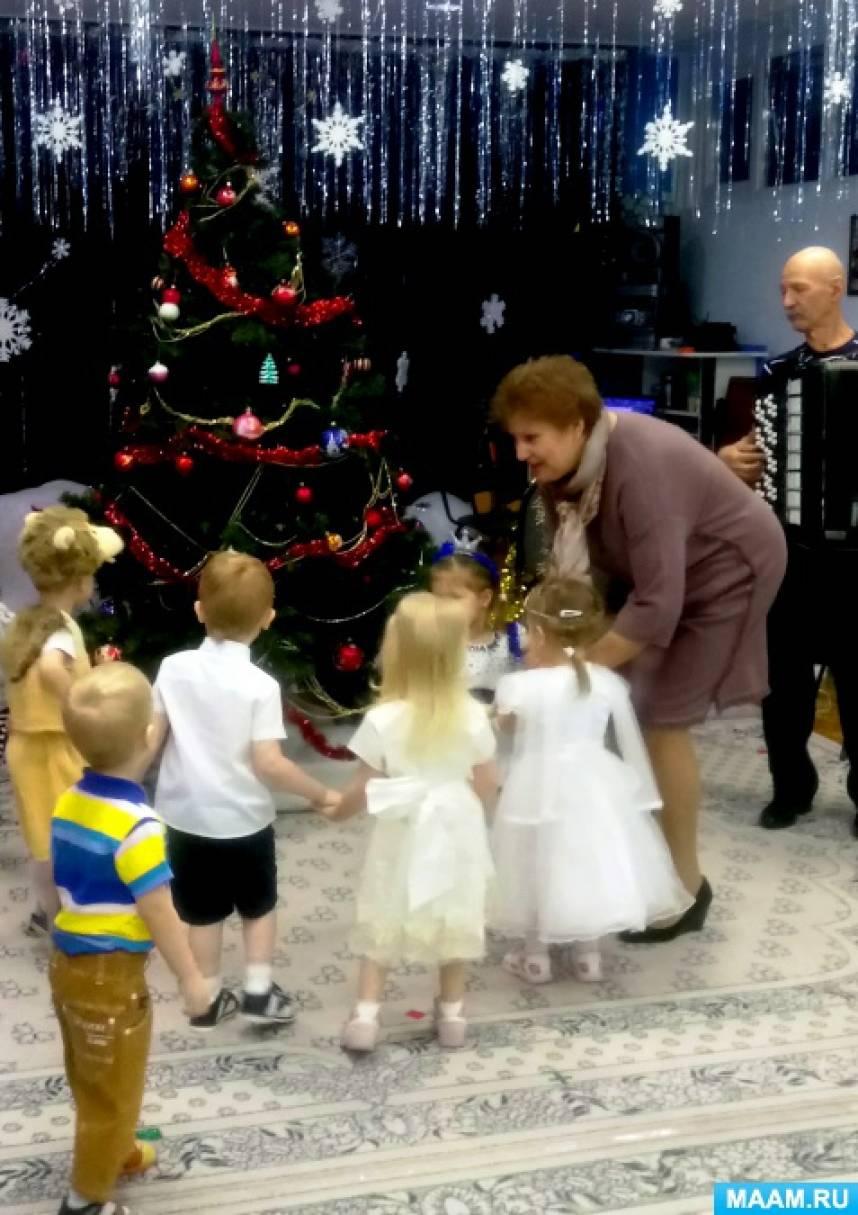 Фотоотчёт о проведении новогоднего утренника в младшей группе «Снеговик в гостях у детей»