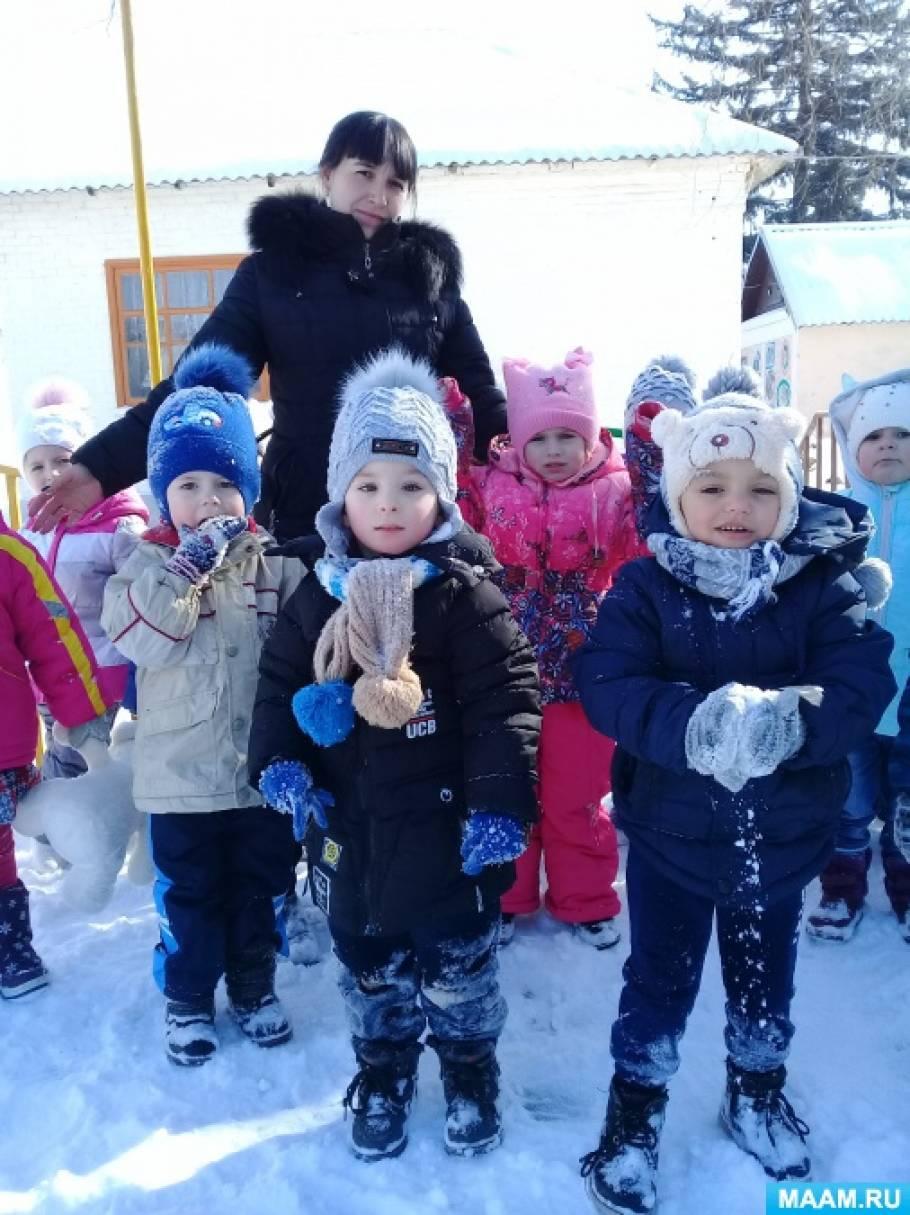 Конспект прогулки во второй младшей группе «Зимние радости»