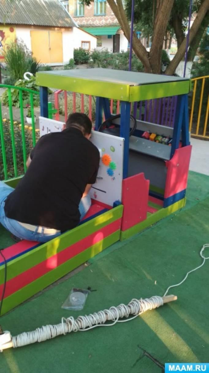 Оформление участка «Детская машинка из дерева»