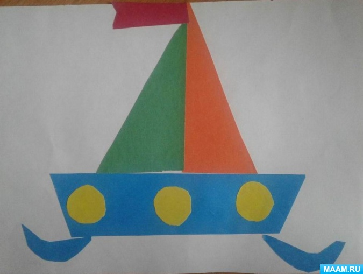 Аппликация из геометрических фигур «Плывет, плывет кораблик»