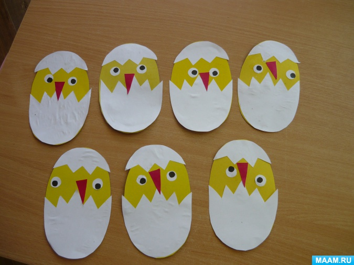 Фотоотчёт об аппликации «Пасхальный цыплёнок» с малышами