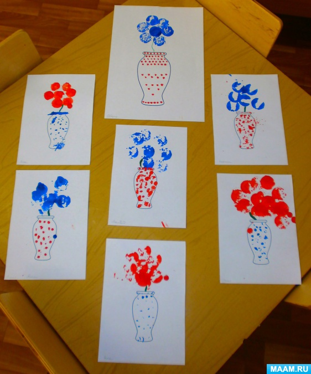Конспект НОД по рисованию в технике оттиска пробкой «Букет для мамы»