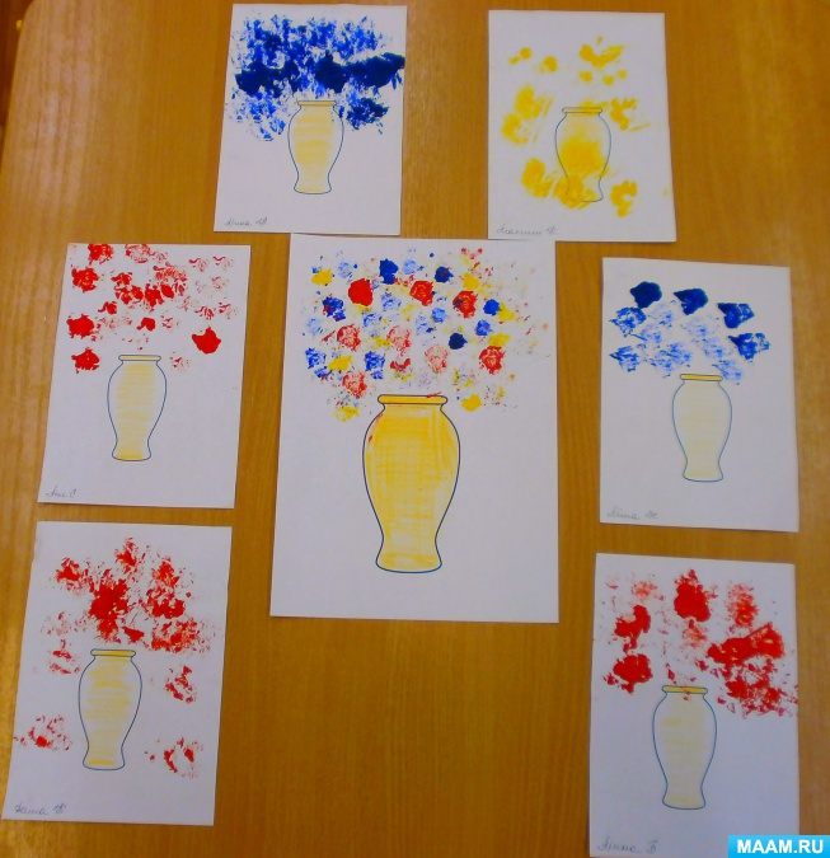 Фотоотчёт «Букет для мамы» рисунок мятой бумагой с помощью бумажного шарика