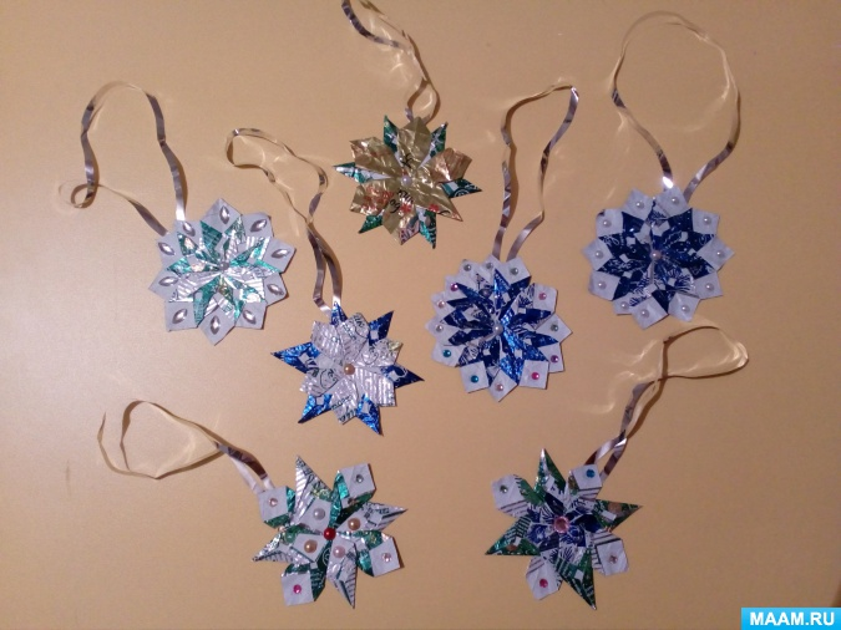 Мастер-класс «Новогодняя снежинка» по изготовлению снежинки из фантика от конфет