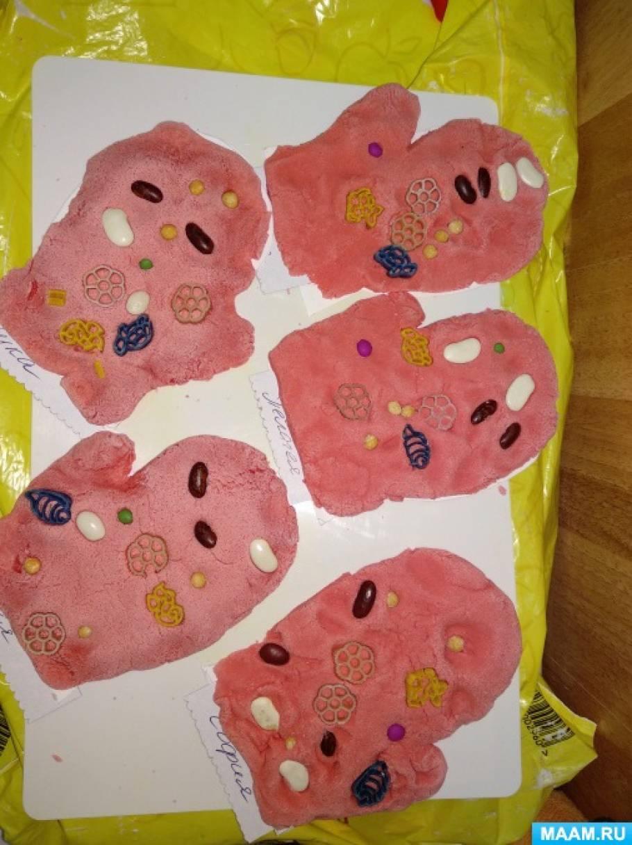 Конспект занятия по лепке с использованием макарон и природного материала «Красивая варежка»
