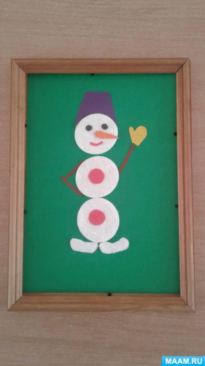 «Замечательный снеговик» из ватных дисков