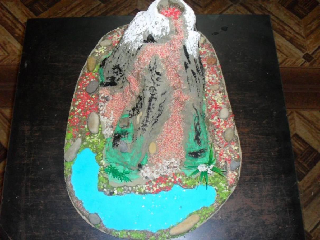 Как сделать модель вулкана из соленого теста