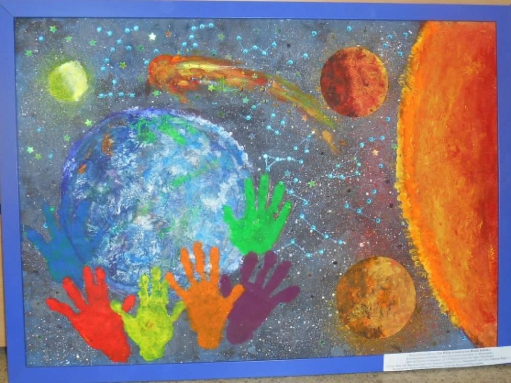 «Это наша планета, это наша Земля». Конспект коллективной работы детей в технике «пальцевая живопись»