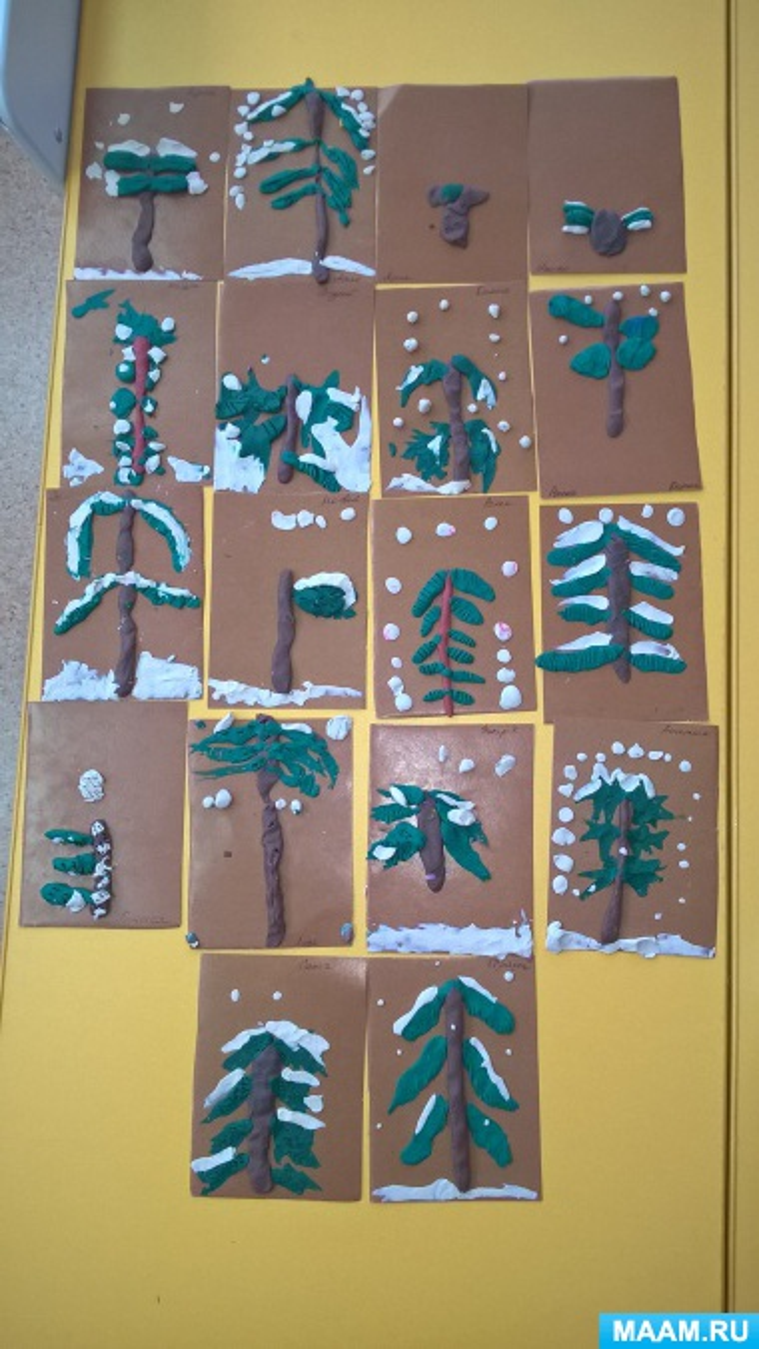 Картины из пластилина «Ёлочки зимой»