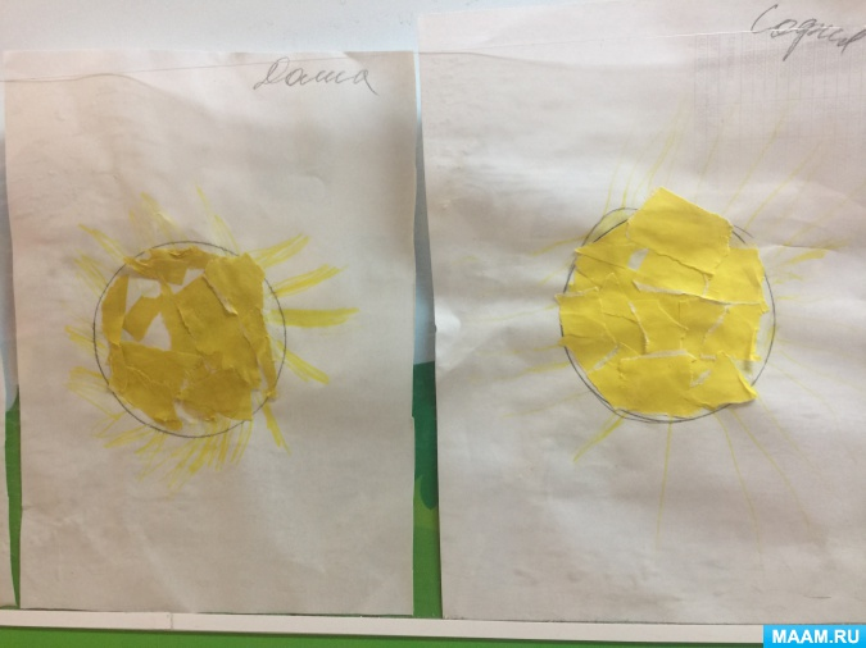 НОД по художественно-эстетическому развитию в нетрадиционной технике обрывной аппликации «Солнышко лучистое»