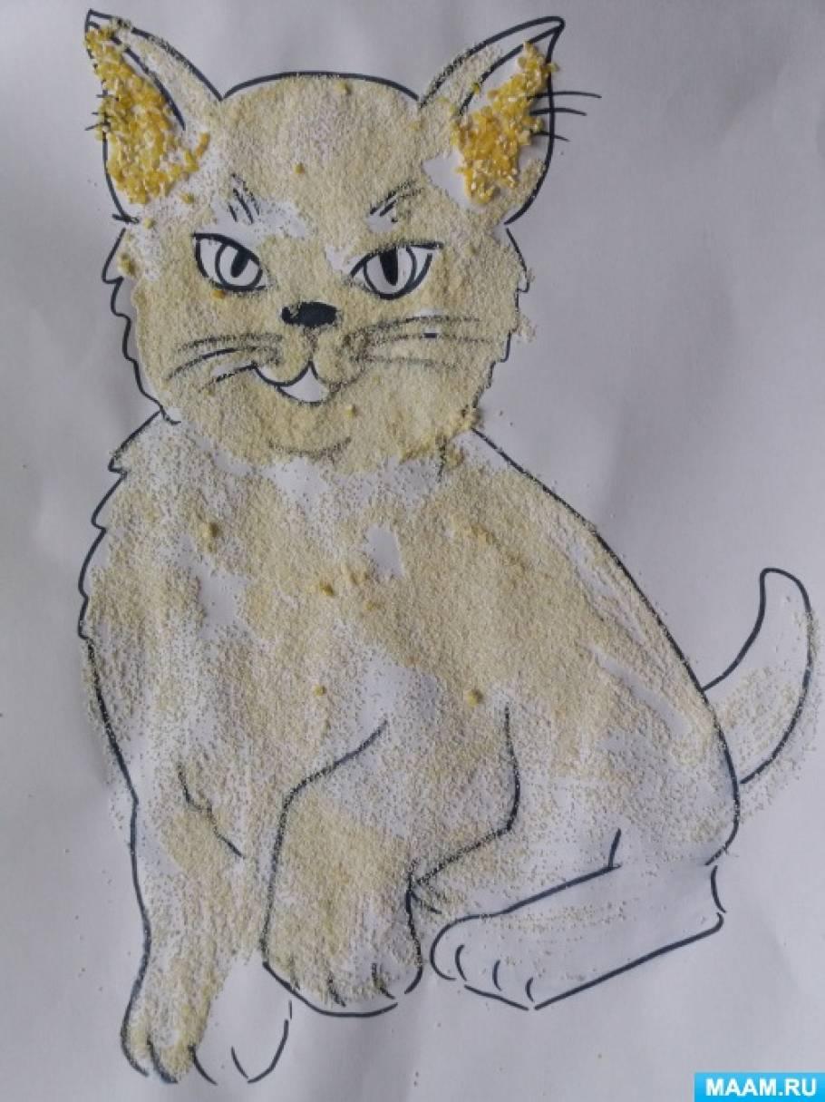 Аппликация «Кошечка» из манки