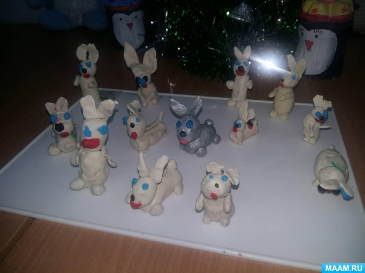 НООД по лепке в старшей группе «Снежный кролик»