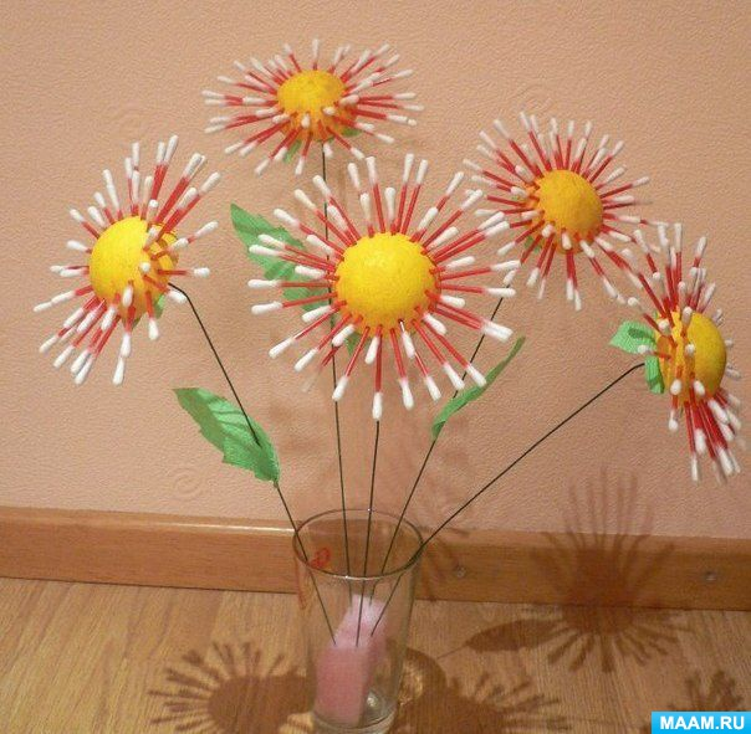 Цветы из ватных палочек своими руками фото 241