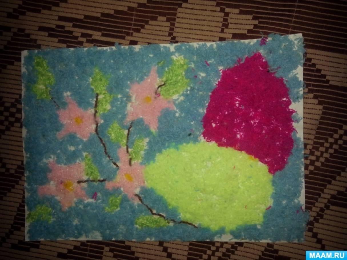 Конспект занятия по изготовлению панно «Весенние цветы» из резаных нитей для детей 5–6 лет