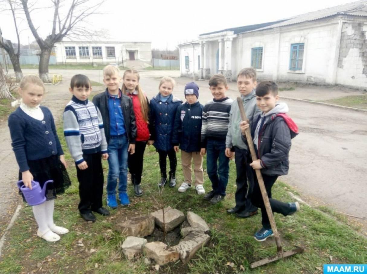 Фотоотчёт об участии учеников 4 класса в акции «Посади дерево— помоги планете»