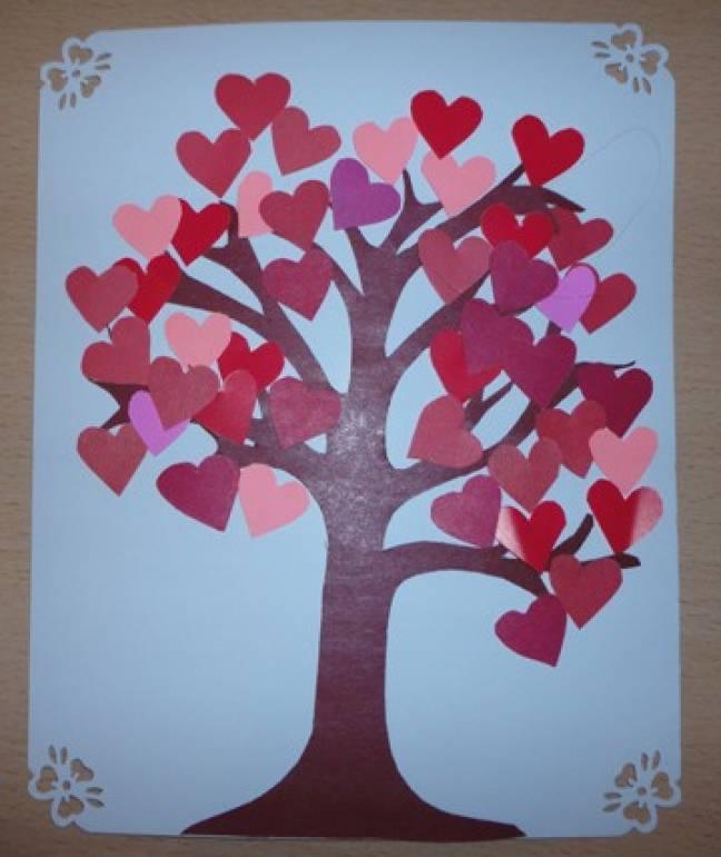 Открытки дерево с сердечками своими руками