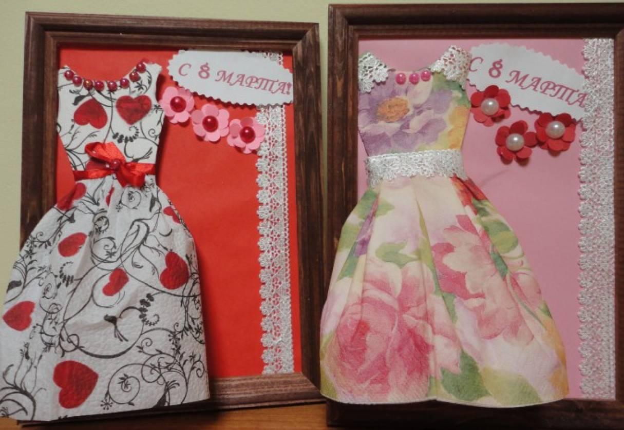 Мастер класс открытка с платьем из салфеток, днем рождения любаша