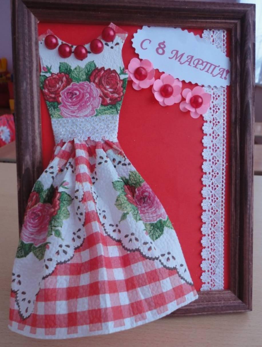 Открытка с платьем шаблон 81