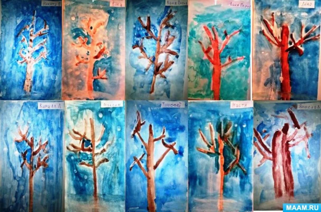 Конспект занятия по рисованию «Деревья в инее» в старшей группе детей с ЗПР