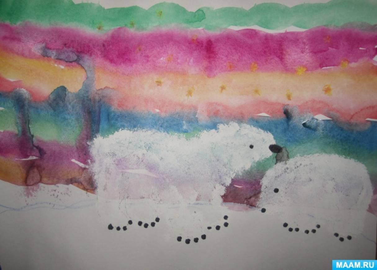 Нетрадиционные техники рисования с детьми подготовительного возраста «Мама Медведица и Умка»