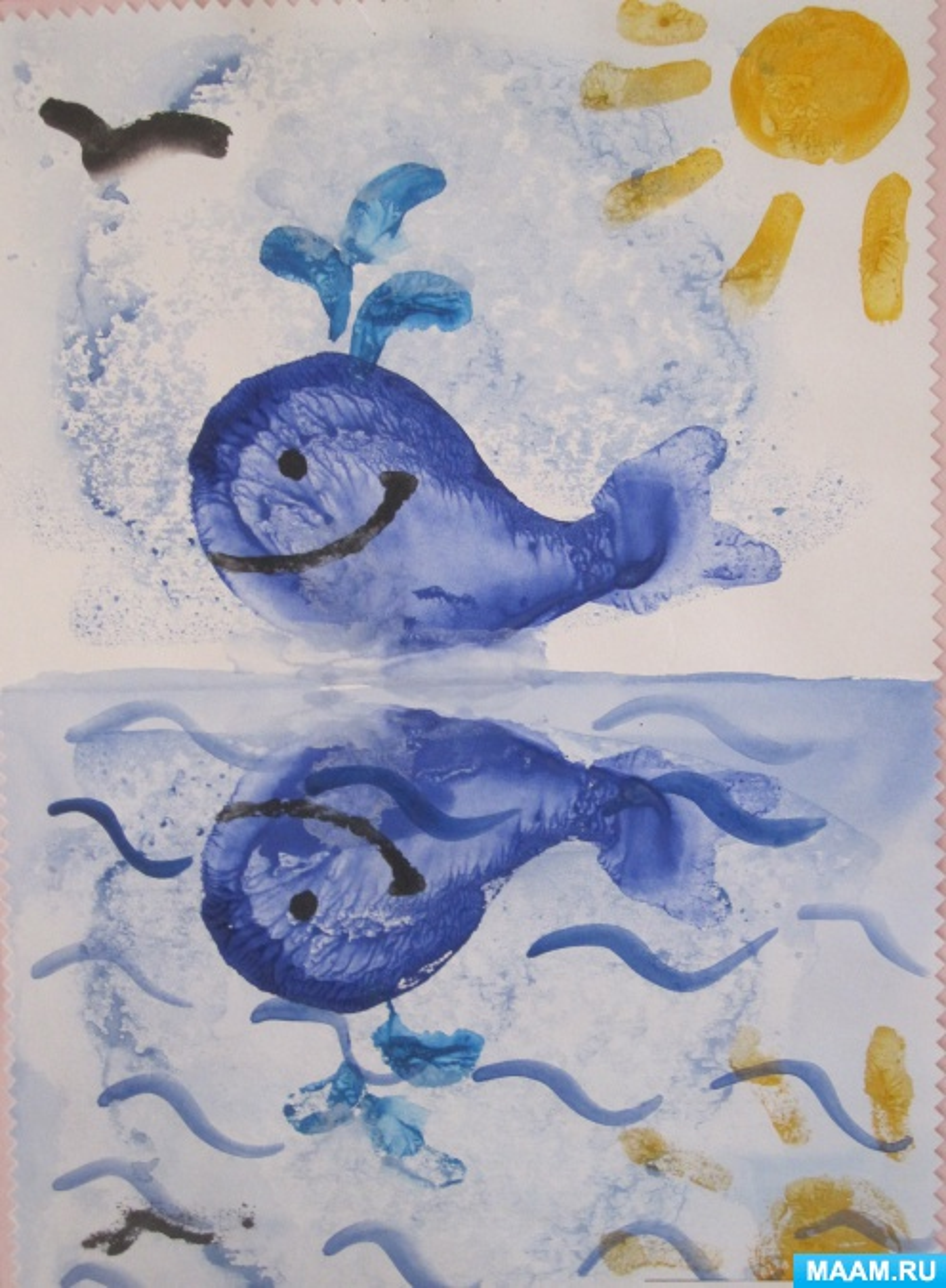 Нетрадиционные техники рисования с детьми дошкольного старшего возраста. Монотипия «Кит-великан»