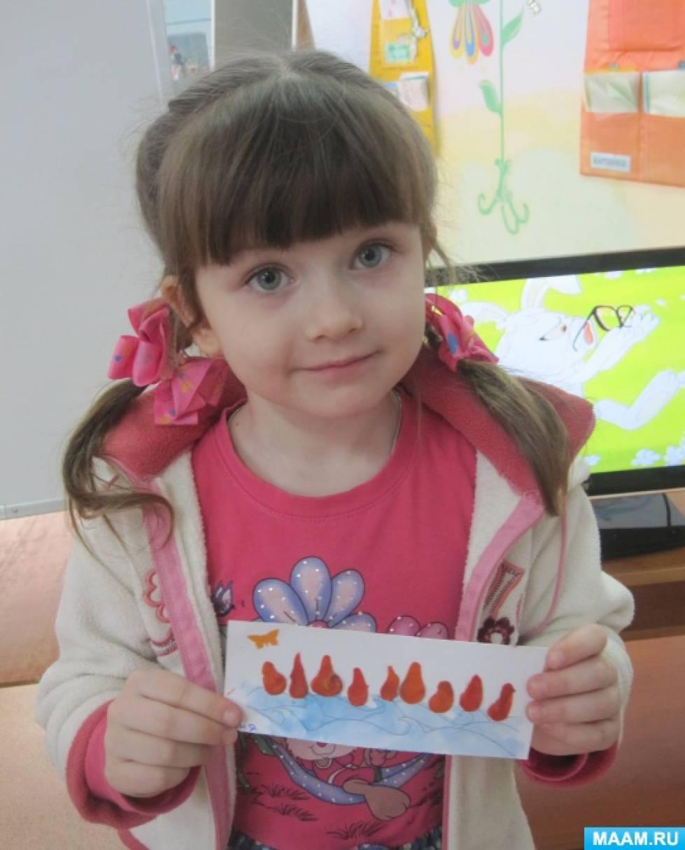 Пластилиновая живопись с детьми среднего возраста в работе «Море пламенем горит»