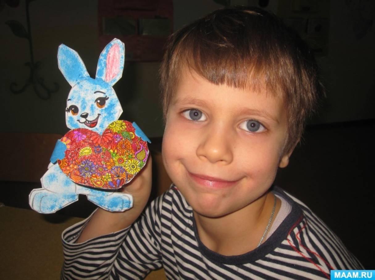 Изготовление поделки «Зайка с сердечком» с использованием нетрадиционных техник рисования для подготовительного возраста