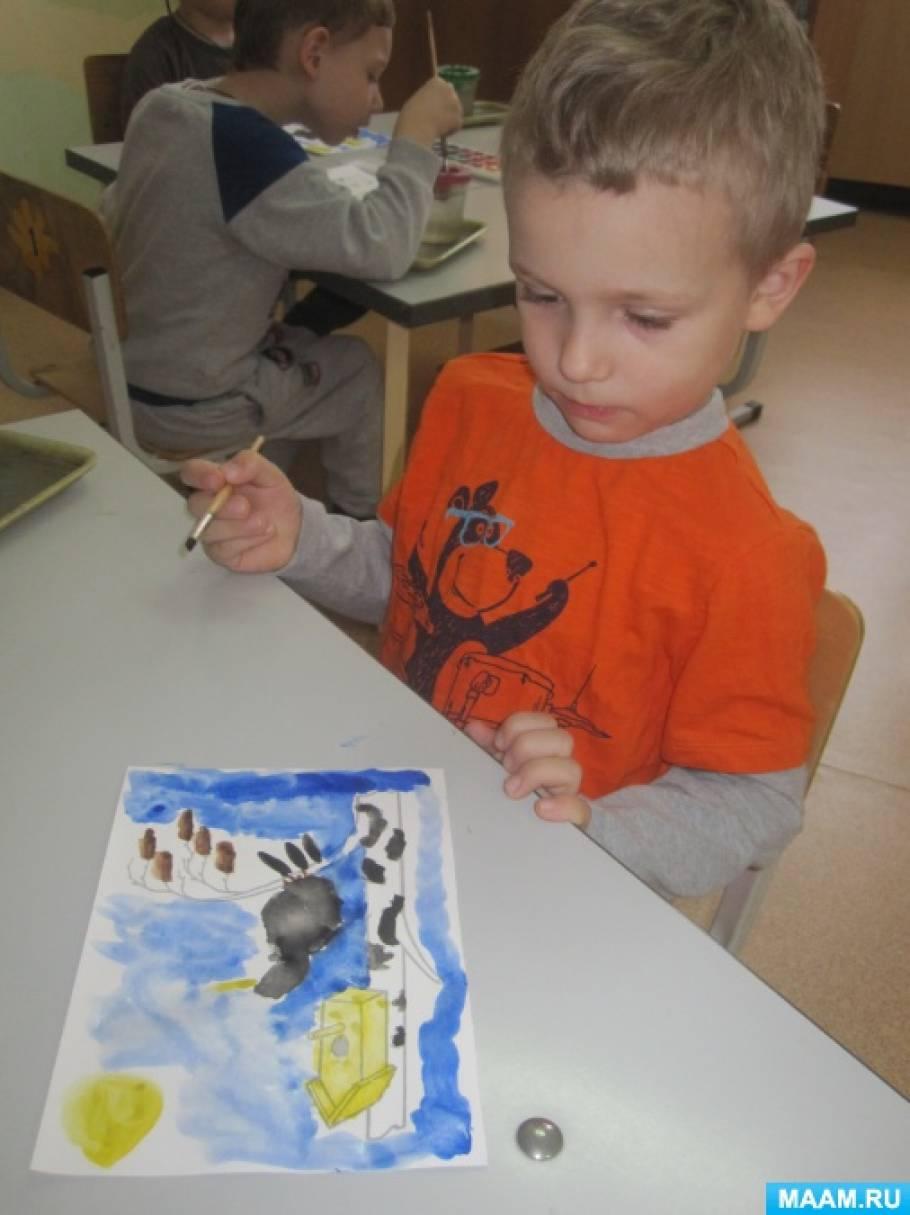 Рисование с детьми среднего возраста «Скворец на веточке»