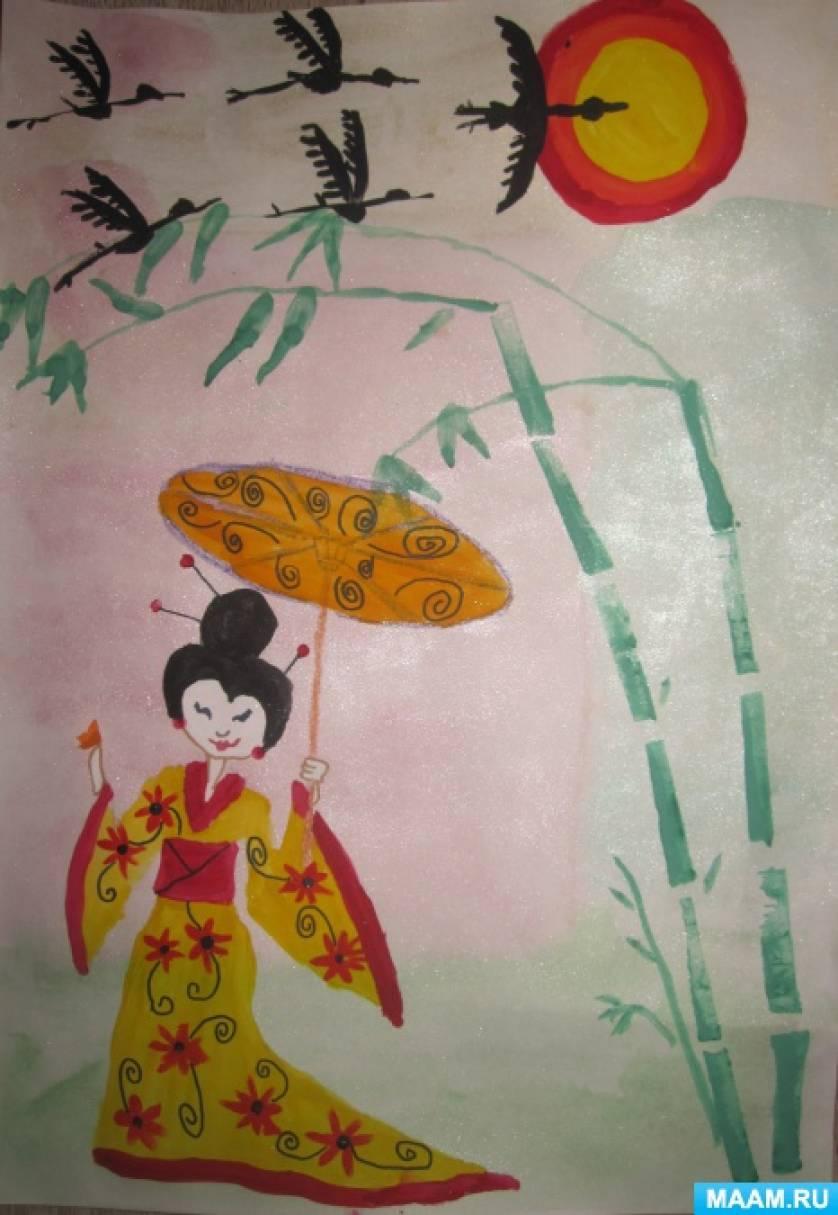 Работа над картиной «Прогулка под солнцем Японии»