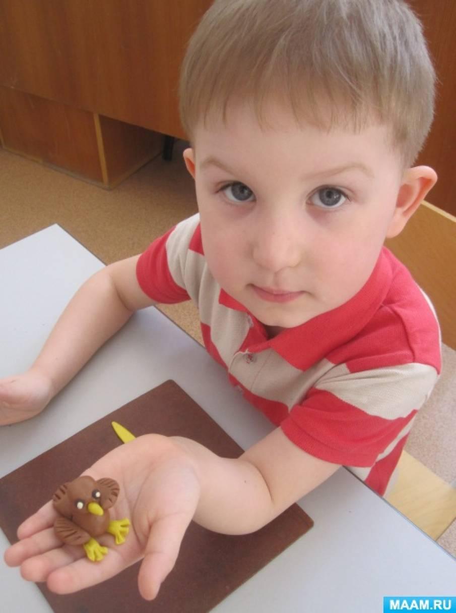 Мастер-класс по лепке с детьми среднего возраста «Воробьишка»
