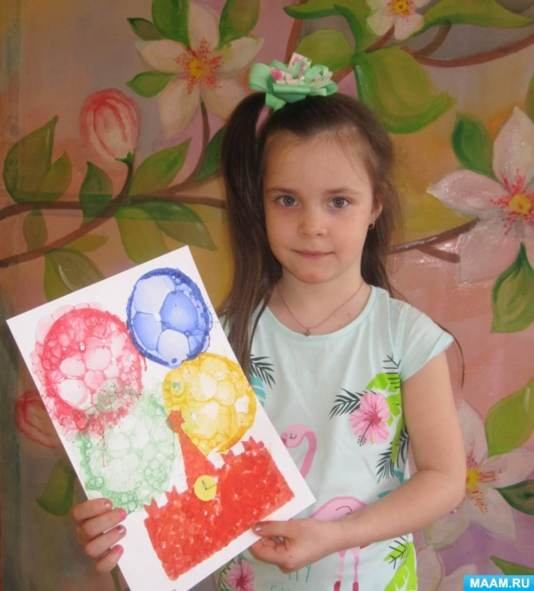 Нетрадиционные техники рисования в работе «Праздничный салют над Москвой» для детей среднего возраста