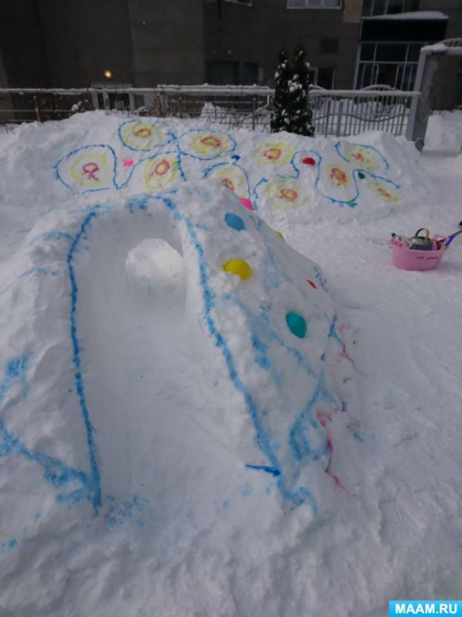 Зимнее оформление площадок в частном детском саду