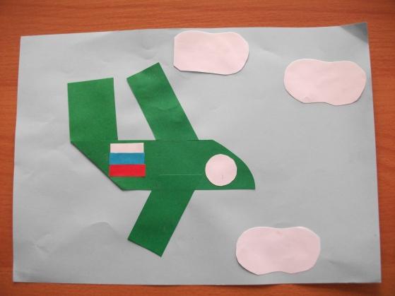 Познавательно-продуктивная (конструктивная) деятельность в средней группе. Аппликация с элементами оригами «Самолет в небе»