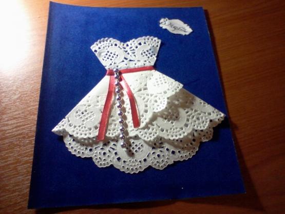 Платье открытка своими руками поделка из салфетки пошагово